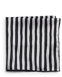 White and Black Vertical Striped Pocket Square