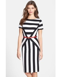 Belted stripe ponte sheath dress medium 299178