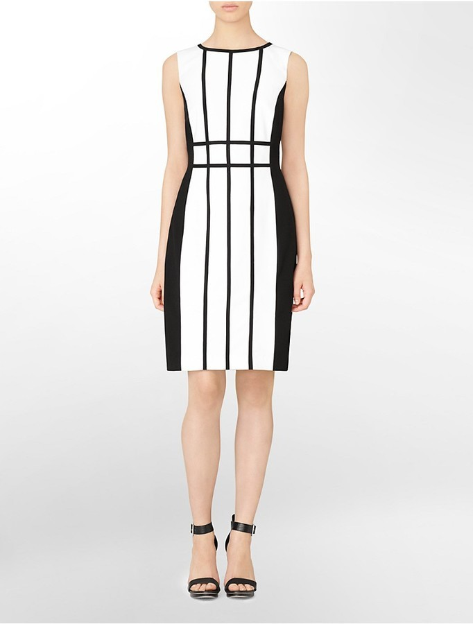 c7309db6aba5fb ... Calvin Klein Colorblock Stripe Sleeveless Sheath Dress ...