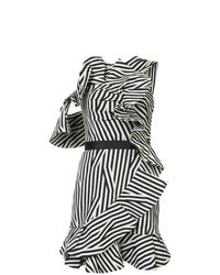 White and Black Vertical Striped Shift Dress