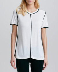 White and Black Vertical Striped Short Sleeve Blouse