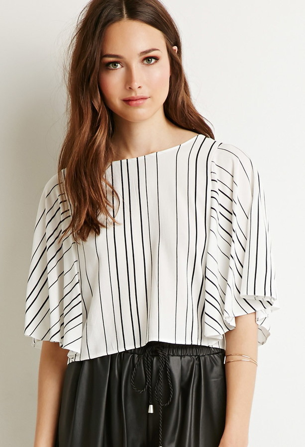 ce4b6549b468f9 ... Black Vertical Striped Short Sleeve Blouses Forever 21 Contemporary  Striped Dolman Sleeve Blouse ...