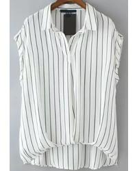 Lapel dip hem vertical striped blouse medium 314281