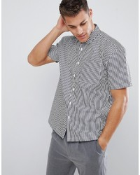 White and Black Vertical Striped Short Sleeve Shirt