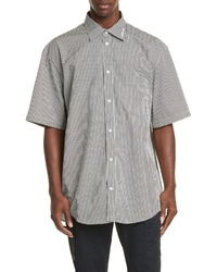 Balenciaga Normal Fit Stripe Short Sleeve Button Up Shirt