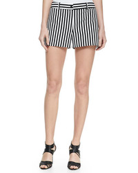 White and Black Vertical Striped Shorts