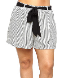 Black White Stripe Tie Waist Shorts Plus
