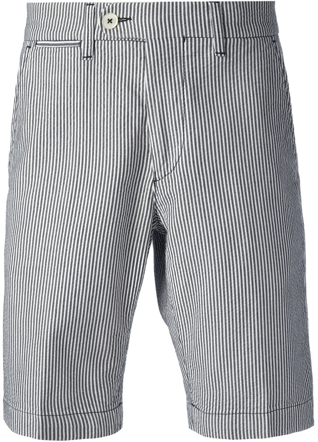 Mens Black And White Striped Shorts Hardon Clothes