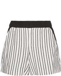 Maje Fer Crepe Trimmed Striped Cady Shorts