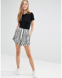 Ganni Nairobi Crepe Wavey Striped Shorts