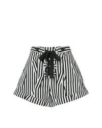 Self-Portrait Lace Up Front Striped Shorts