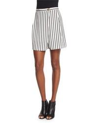 Mcq alexander mcqueen striped woven skort blackwhite medium 748775
