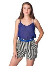 American Apparel Rsa0358st Stripe Pleated Cuff Short