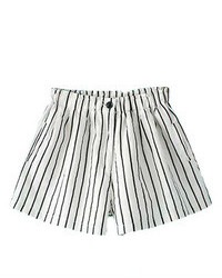 Romwe Striped Buttoned White Shorts