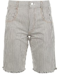 Alexander Wang T By Striped Denim Shorts