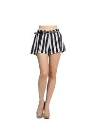 G2 Fashion Square Vertical Striped Belted Shorts