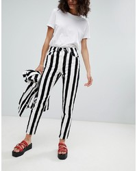 Uncivilised Reff Stripe Mom Jeans White