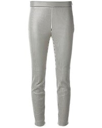 White and Black Vertical Striped Skinny Pants