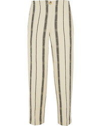 Carrie striped slub silk blend straight leg pants medium 239513