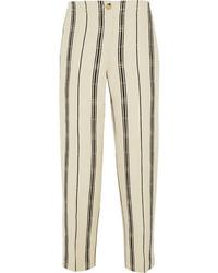 Tory Burch Carrie Striped Slub Silk Blend Straight Leg Pants