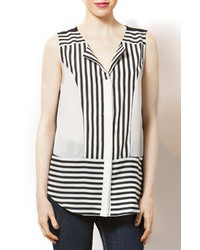 cb648c26f65a29 White and Black Vertical Striped Sleeveless Button Down Shirts for ...