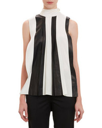 Leather silk combo sleeveless top medium 96309