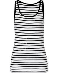 DKNY Whiteblack Sequined Stripe Cotton Tank Top