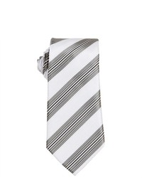 Brand Q White Striped Slim Neck Tie Pocket Square