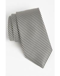 David donahue woven silk tie black white regular medium 716954