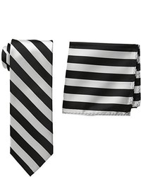 Stacy Adams Solid Woven Formal Stripe Tie Set