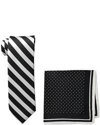 Steve Harvey Satin Stripe Woven Necktie And Dot Pocket Square