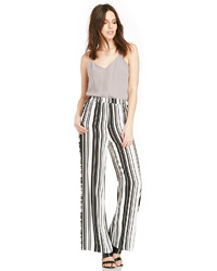 White and Black Vertical Striped Wide Leg Pants