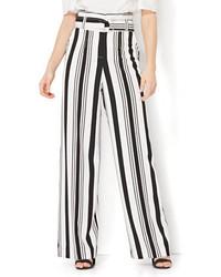 New York & Co. 7th Avenue Pant Paperbag Waist Black White Stripe