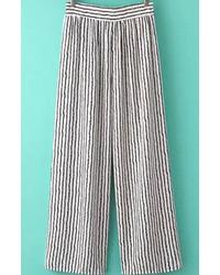 Elastic Waist Vertical Striped Wide Lege Black Pant