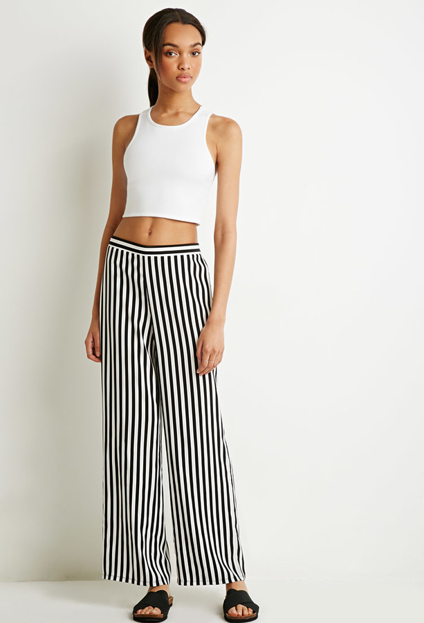 914096d58c75 ... White and Black Vertical Striped Wide Leg Pants Forever 21 Striped  Satin Wide Leg Pants ...