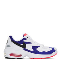 Nike White And Blue Air Max2 Light Sneakers