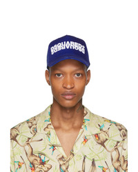 DSQUARED2 Blue And White Mirrored Logo Baseball Cap