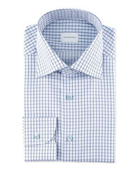 White and Blue Check Dress Shirt