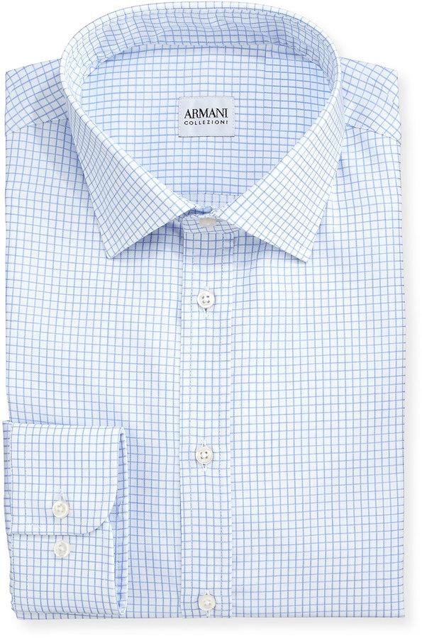 2c9c0281 $245, Armani Collezioni Blue On White Graph Check Shirt