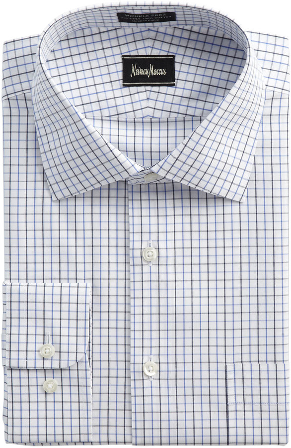 Neiman marcus non iron check dress shirt blue where to for Blue check dress shirt
