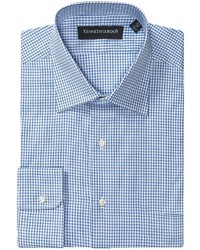 White and Blue Check Long Sleeve Shirt