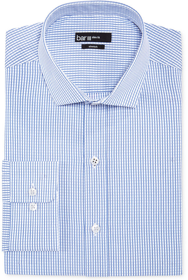 Bar iii slim fit blue dobby square check dress shirt for Blue check dress shirt
