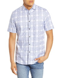 White and Blue Check Short Sleeve Shirt