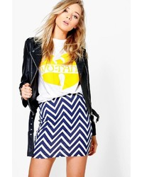 Boohoo Pia Chevron Print Basic Mini Skirt