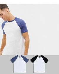 ASOS DESIGN T Shirt With Contrast Raglan 2 Pack Save