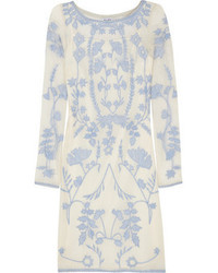 ALICE by Temperley Clover Embroidered Cotton Mesh Mini Dress