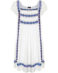 Topshop Embroidered Crinkle Smock Dress