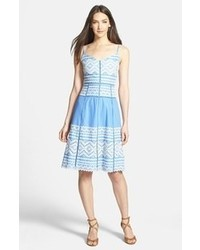 Tory Burch Tiara Embroidered Cotton A Line Dress