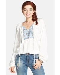 White and Blue Embroidered Peasant Blouse