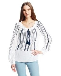 BCBGMAXAZRIA Araya Embroidered Long Sleeve Blouse